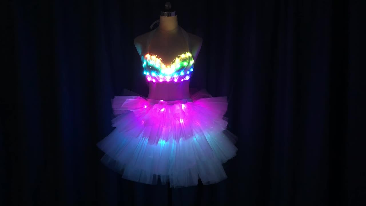 *WL-0214 Full Color LED Sexy Bra+ LED Skirt  LED Luminous Dance costumes  performance wear for belly dance can sell separately