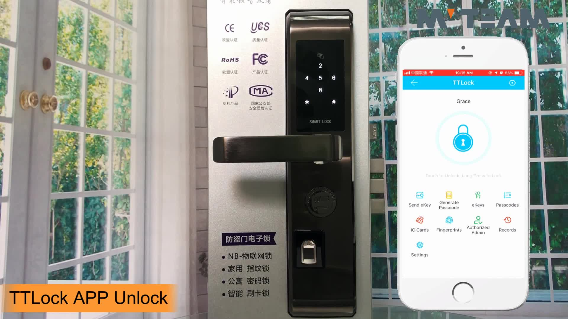 Home Hotel Apartment Fingerprint Keyless Entry Smartphone Door Lock with Bluetooth Enabled, Auto Lock, Battery Backup