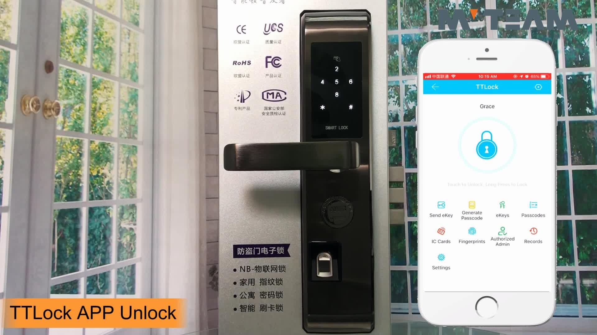 בית משרד אלקטרוני דלת יצרני מנעולי טביעת אצבע Bluetooth חכם מנעול עם אפליקציה TTlock עבור iPhone אנדרואיד Smartphone