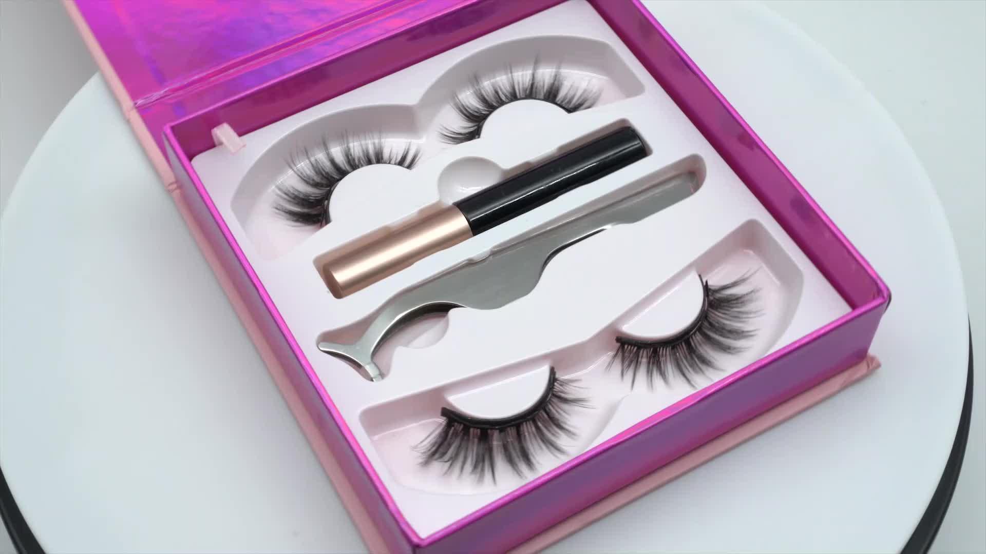 Sıcak satış manyetik kirpik sıvı manyetik eyeliner ve kirpik uygulayıcısı seti