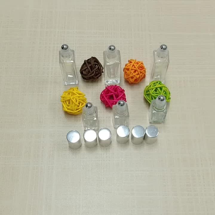 Custom 3ml 5ml 10ml refillable attar essential oil glass roll-on bottle with silver /golden cap