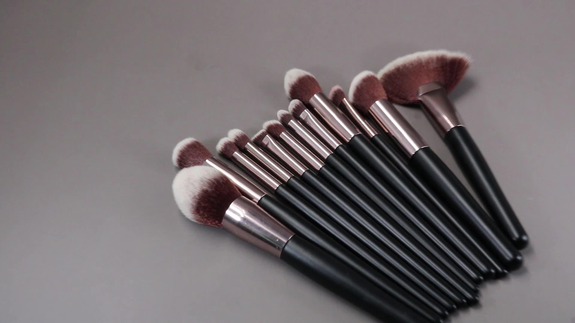 화이트 블랙 여성용 브러쉬 전문 단일 양면 듀오 메이크업 브러쉬 화장품 퍼프 파우더 파운데이션 브러쉬