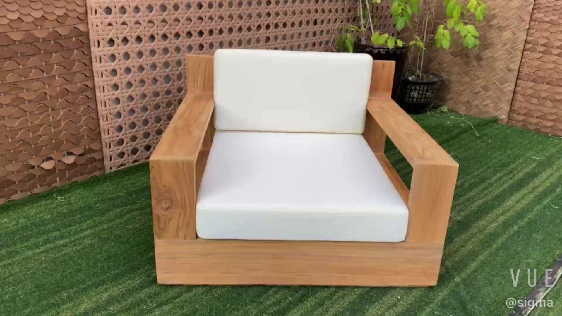 New arrival  all weather outdoor furniture luxury teak solid wood ultra-deep seats classic lounge chair