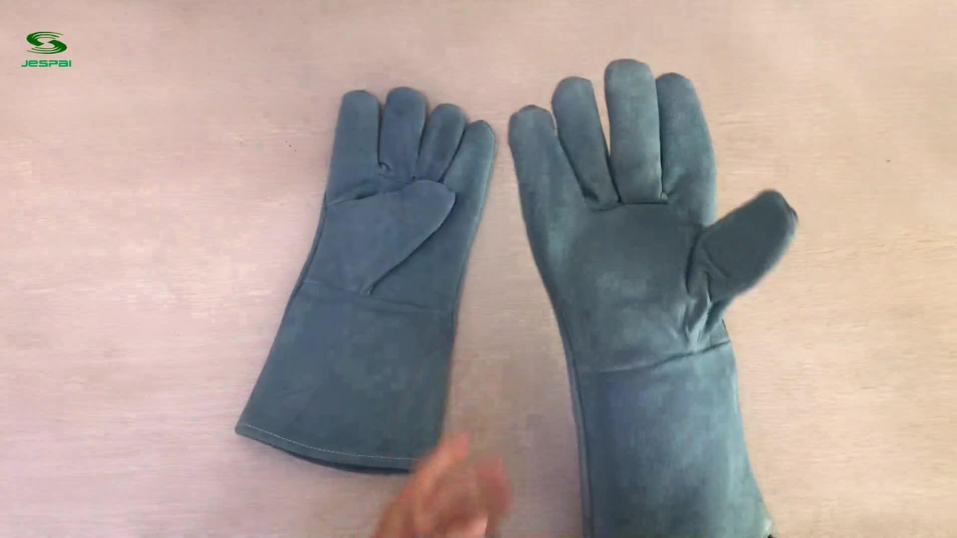 Factory Jespai 10.5inch Blue Cow split leather lightweight work gloves