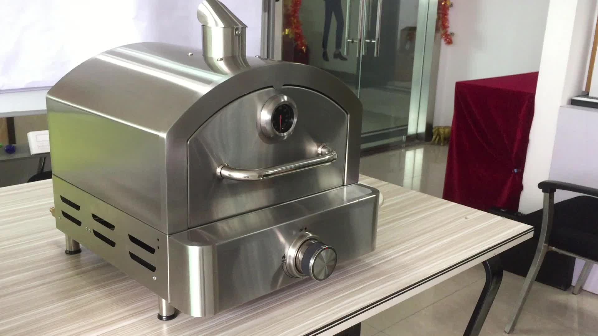 Cucina di Casa Portatile Desktop di Gas di Piccole Dimensioni in Acciaio Inox Forno per La Pizza Kit con Termometro