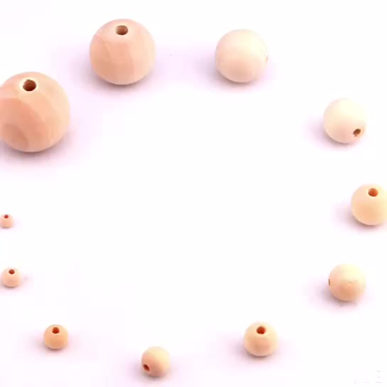 China suppliers Wholesale 4 mm to 50 mm custom unfinished natural round wood beads For Jewelry Making  wooden beads