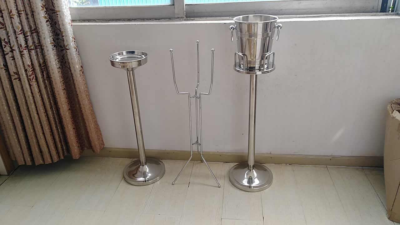Europeanism Stainless Steel Luxurious Champagne Ice Bucket & Stand with Handles, Suitable for Party, Hotel, Restaurant, Bar