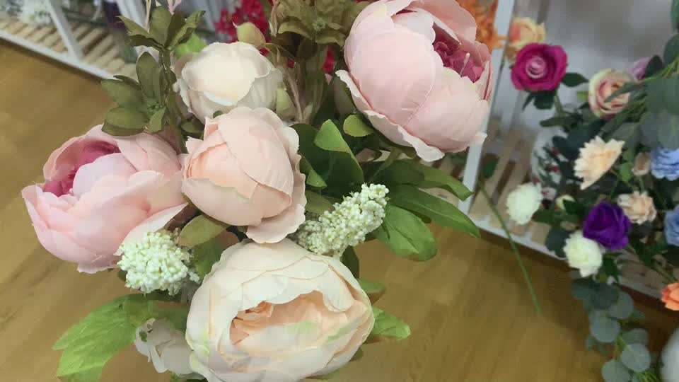 Home Wedding Decor European Style Vintage Artificial Peony Silk Flower Real Touch Peony Bouquet