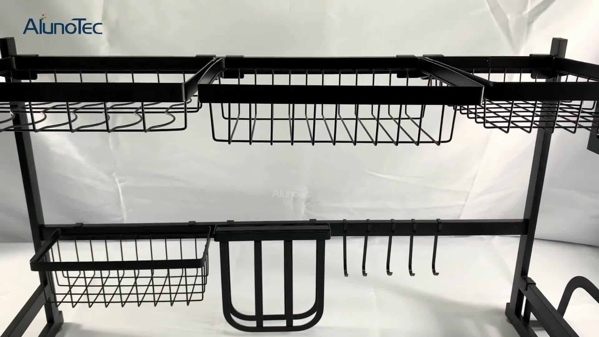 Suporte de rack de escorredor de prato de 85cm preto em aço inoxidável para pia de cozinha