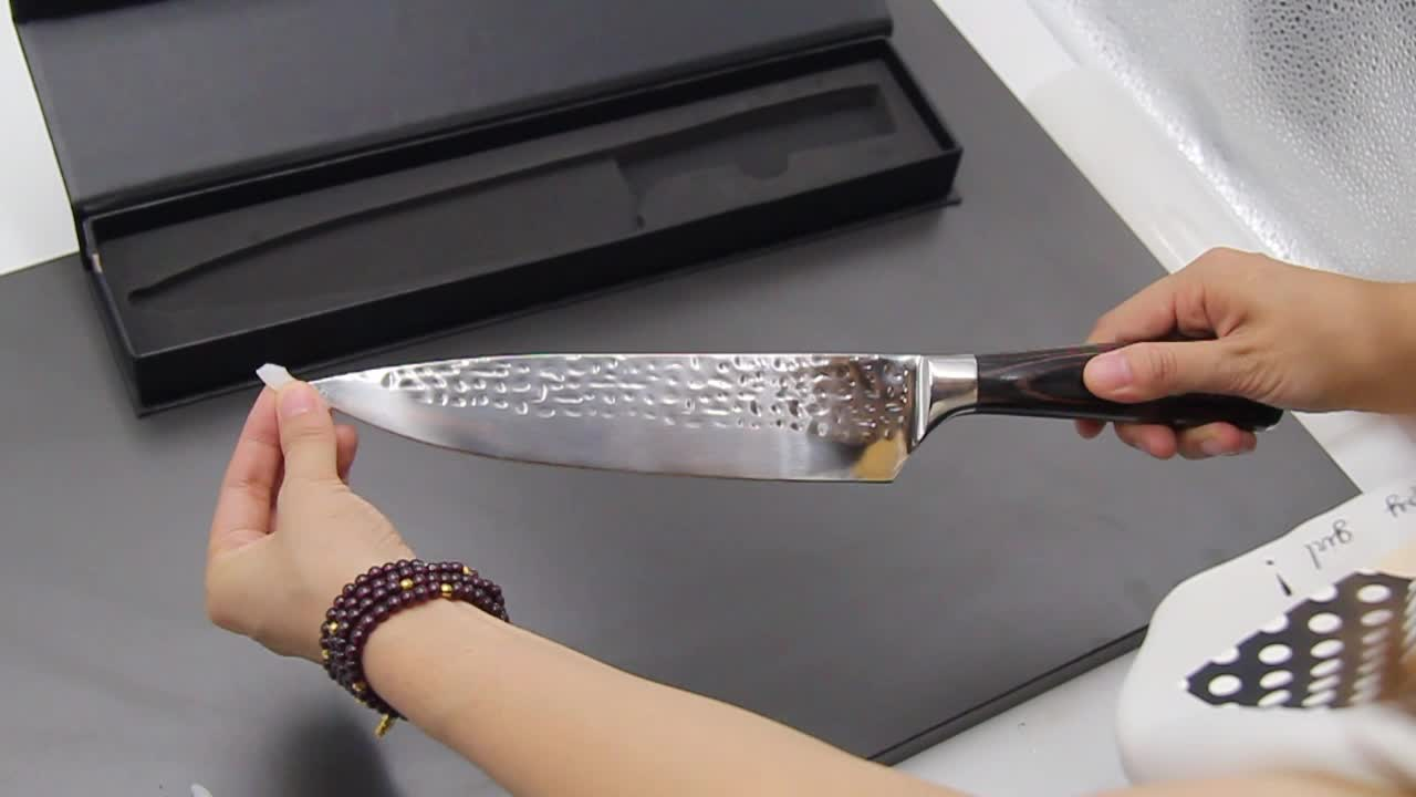 Famous Stainless steel POM handle kitchen knives hammer chef knife