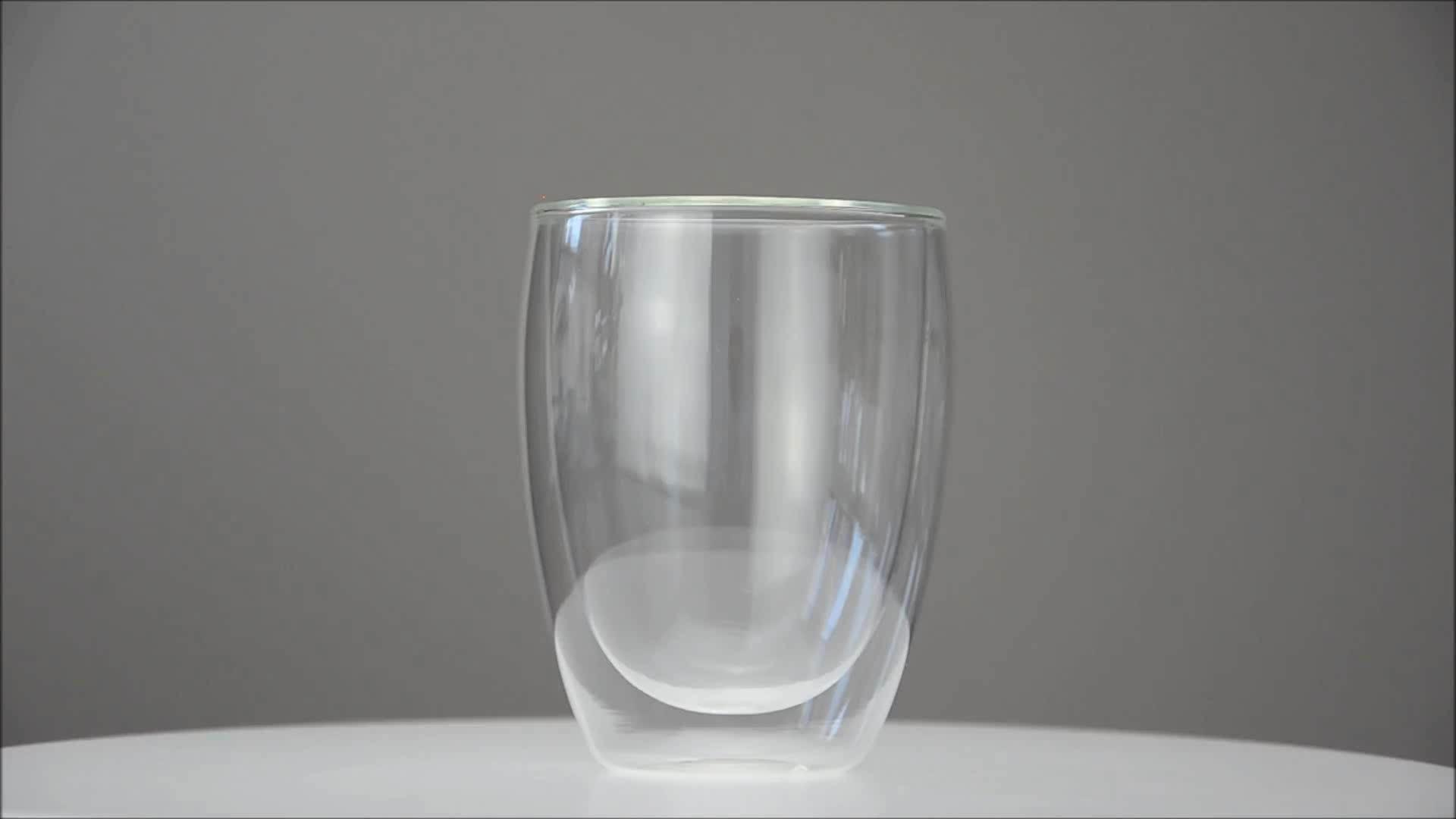 OEM vente en gros haute qualité 80ml 150ml 450ml grand borosilicate double paroi couche verre tasse pour le thé