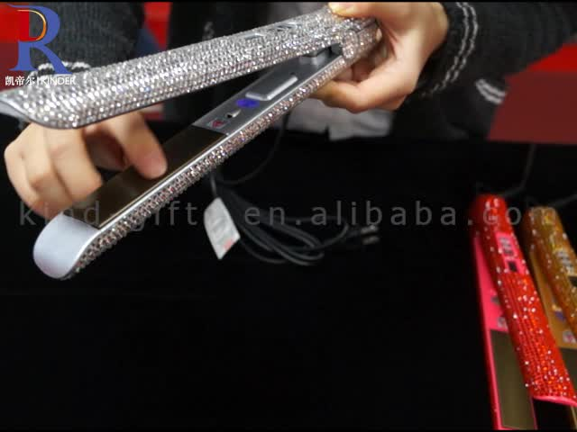 Crystal Pink Princess Cute Series Sparkle Diamond Bands High Tech Professional Hair Straightener