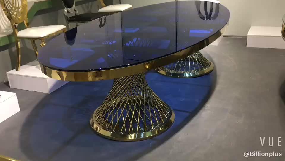 Vàng Hiện Đại Thép Không Gỉ Tempered Glass Wedding Gương Kính Bàn Ăn