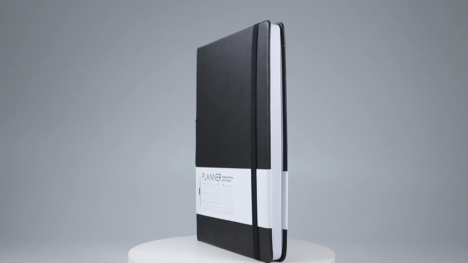 Nouveau design relié personnalisé imprimé logo personnalisé pu cuir couverture a5 2020 journal avec porte-stylo