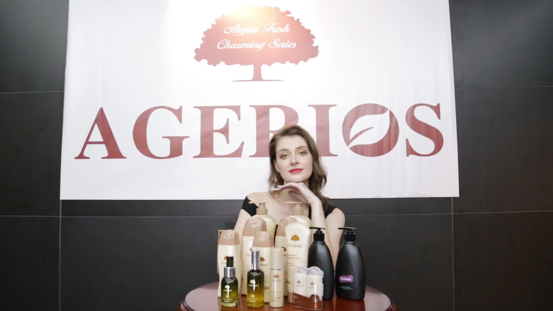Commercio all'ingrosso di Marca Nome Agerios Cuoio Capelluto cura Dei Capelli materia prima olio di argan balsamo per capelli