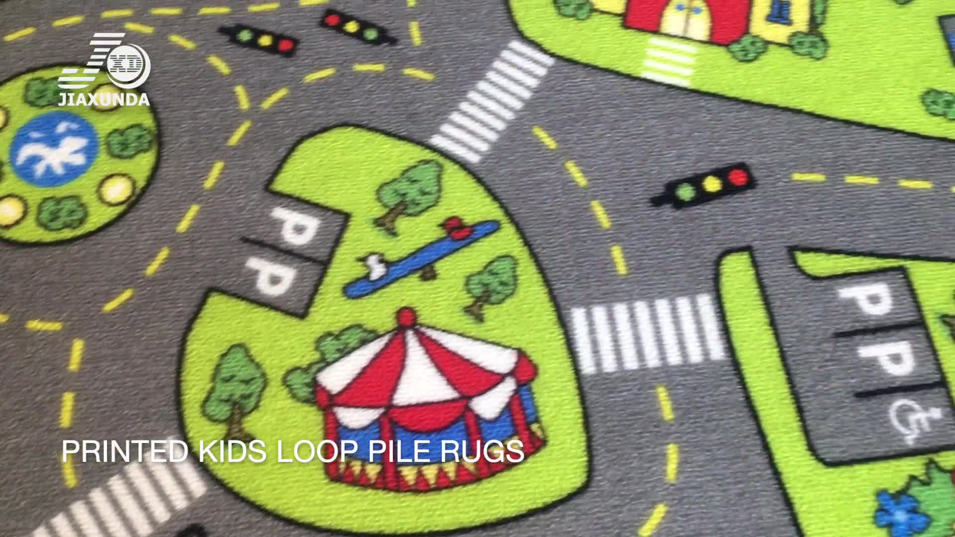 Country Farm Road Map With Construction Site Educational Learning Area Rug For Kids and child Bedroom and Playroom