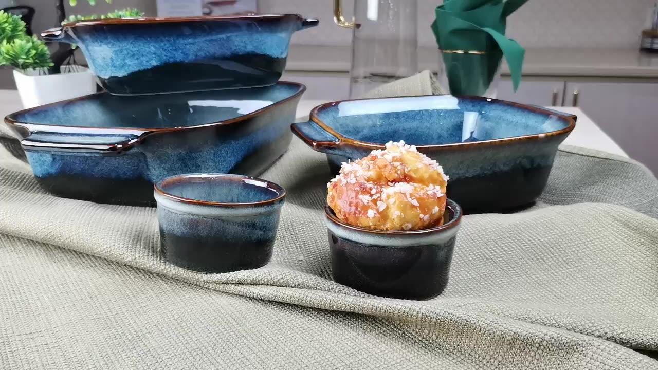 Gradient Blue Color Kitchenware Ceramic Baking Plate Ramekin Home Baking Dishes Set
