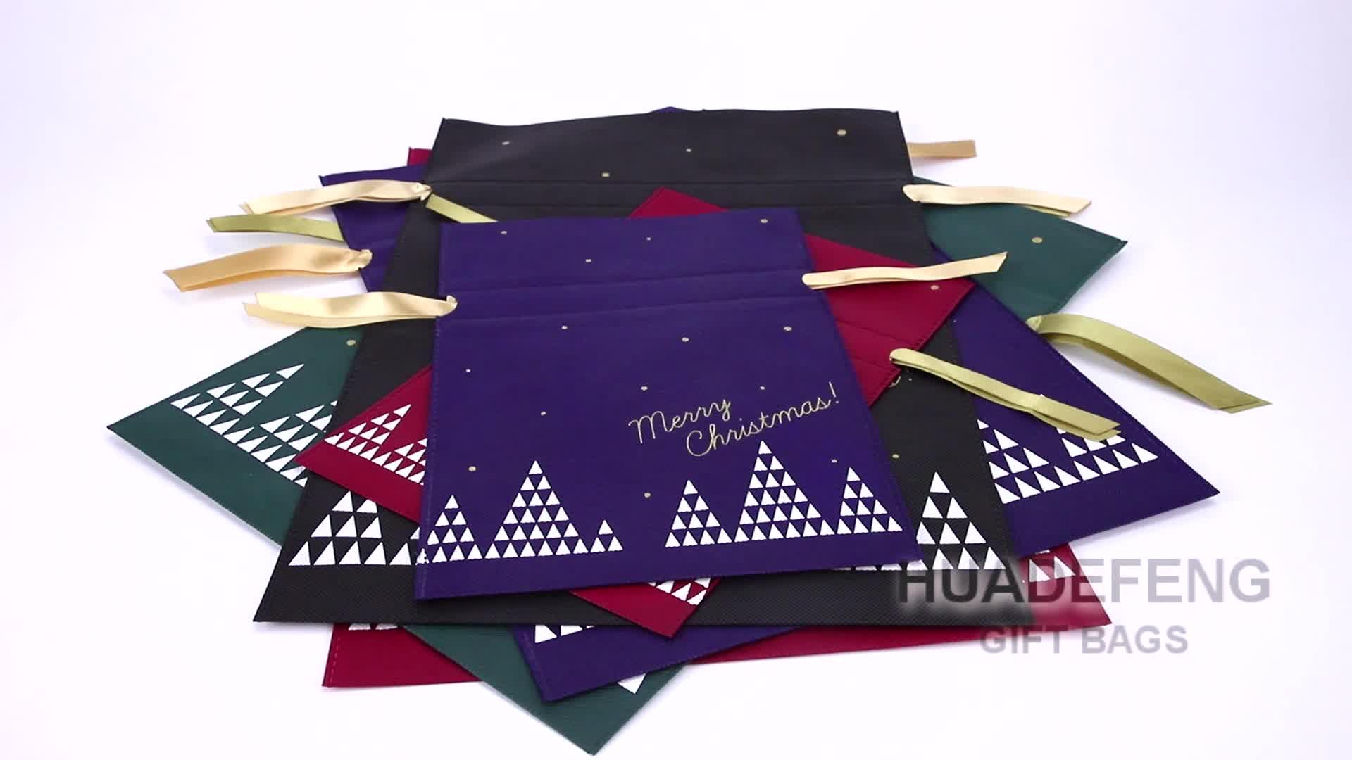 Huadefeng Padrão de Santa Do Natal Dom Saco Não Tecido Preço Barato Cor Roxa
