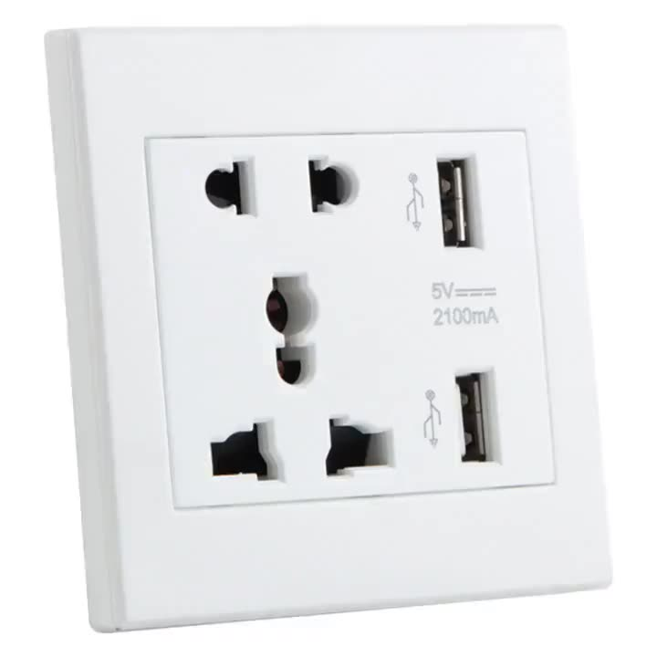 Innovation Design 13A 220V Sockets Cheap Price Universal Wall Socket With Double USB Ports