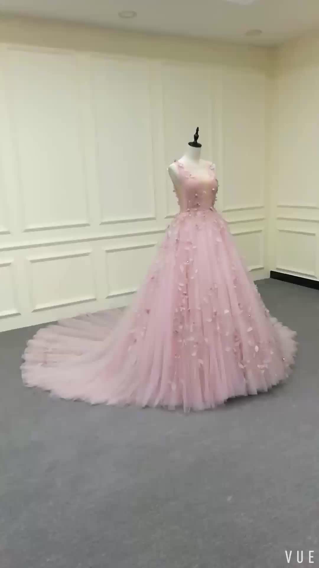 Libélula Enfeite Rosa Tulle Lace A Linha de Vestido Longo de Noite Formal Pageant vestido de Baile