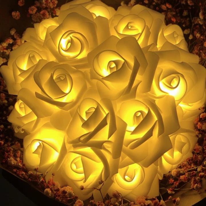 Battery powered Rose Flower festoon wedding string lights led for Wedding Valentine Room Festival Decoration