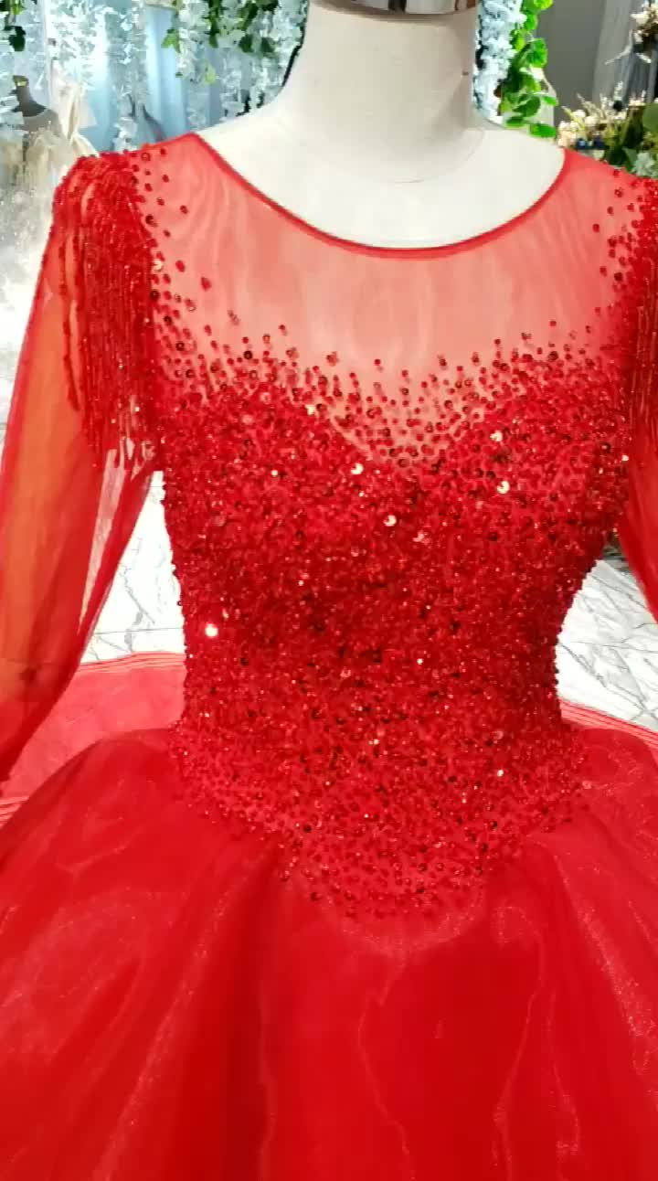 HTL835 Jancember beaded red long sleeves lace wholesale evening dresses from turkey