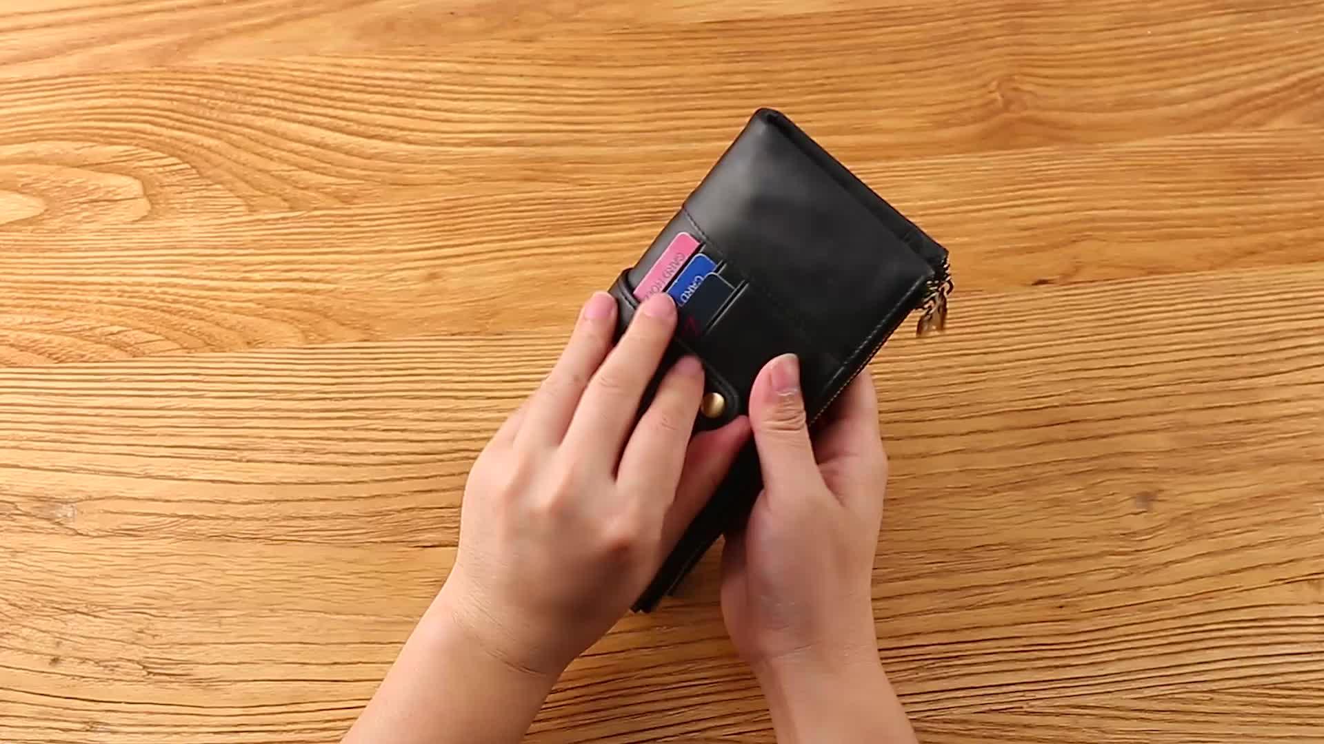 2019 nuevo multi-función largo cuero cartera hombres cartera RFID escudo tarjeta monedero con cremallera