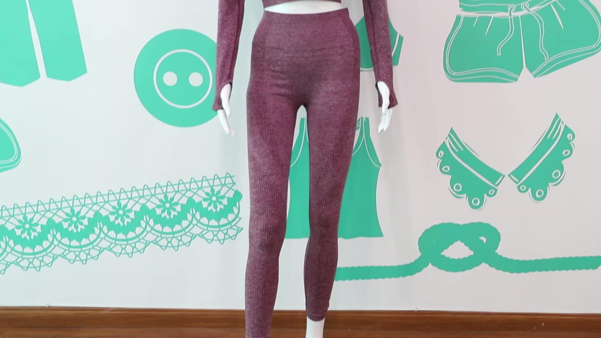 Fashion Dua Piece Wanita Seamless Kebugaran Aktif Memakai Yoga Kemeja Dengan Celana kerja Lengan Panjang Yoga Set