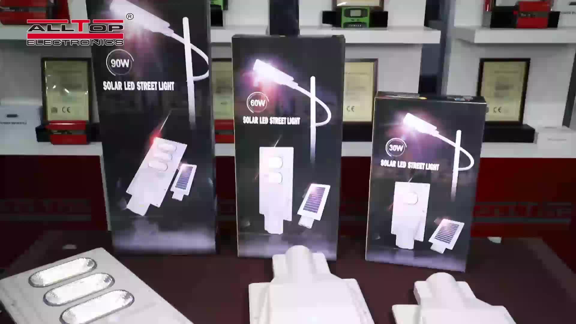 Alltop Outdoor ABS IP65 Tahan Air 30 W 60 W 90 W 120 W 150 W Terintegrasi Semua Dalam Satu Surya lampu Jalan LED