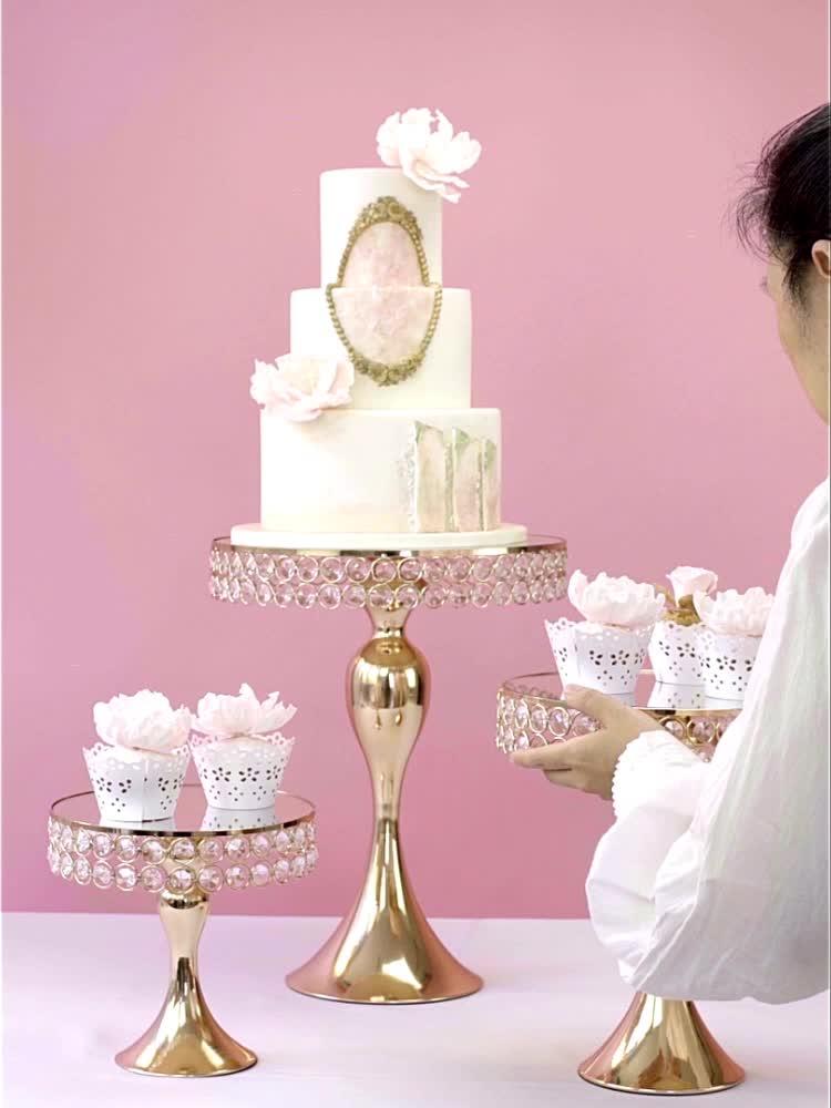 Or argent décoration cristal perlé en métal support de gâteau pour la fête d'anniversaire de mariage table de desserts cupcake support en acier