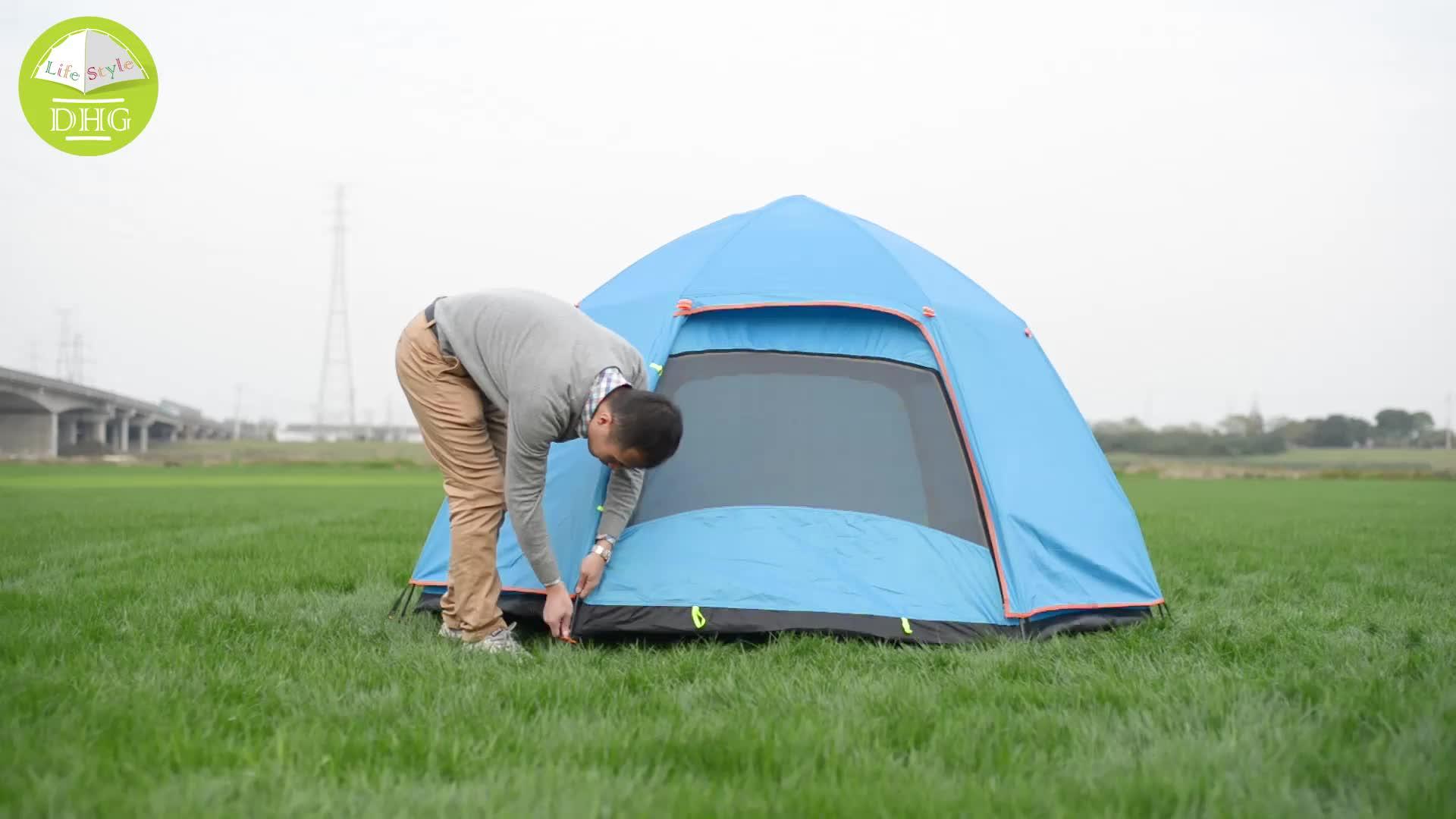 Tente de Camping extérieure imperméable hydraulique d'hexagone de Double couche de Logo fait sur commande de 4 personnes