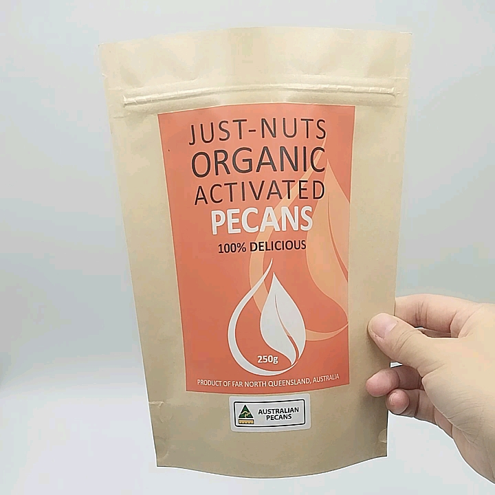 Food Grade Packaging Reusable Stand Up Compostable Kraft Nut Bags For Pecans