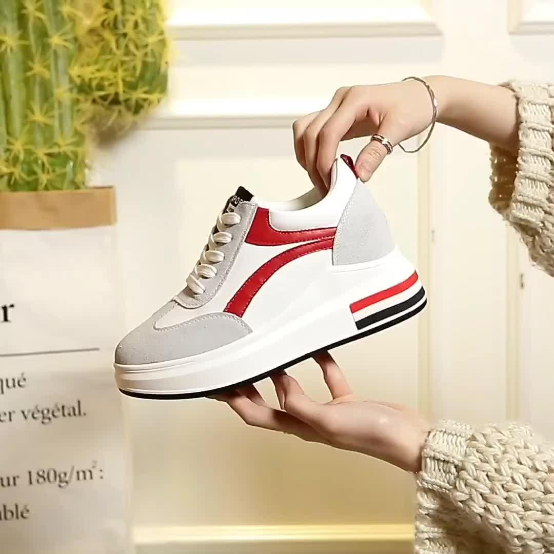 2018春季真皮女鞋新款批发平底增高跟休闲运动学生鞋女一件代发