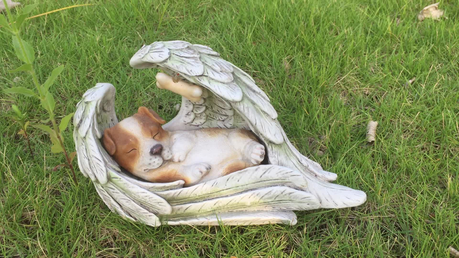 Garden decor solar light resin wing angel figurine dog, personalized grave decorations polyresin sleeping in wing dog memorial*