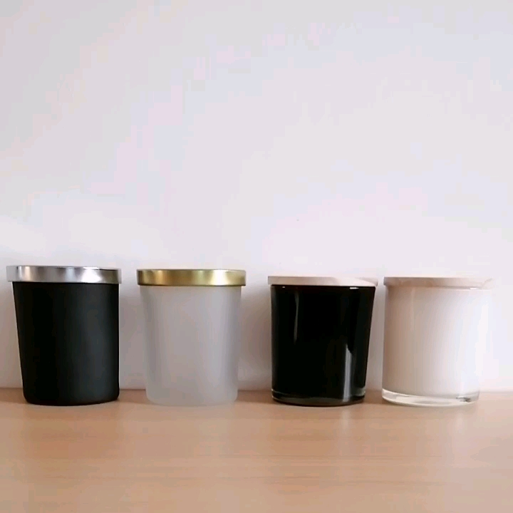 matte black empty glass candle jars with wooden tins metal lids glass holders containers vessels for candles