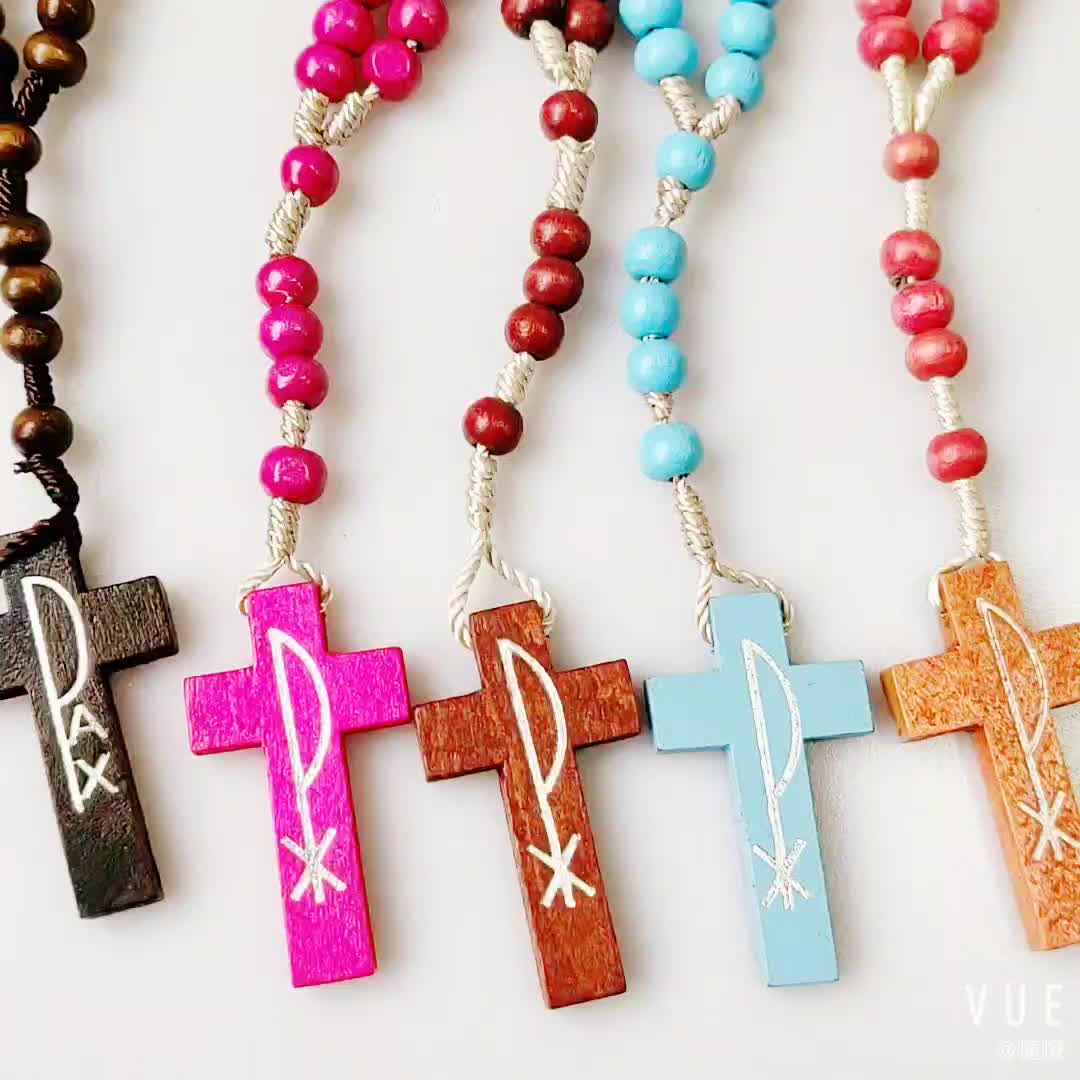 2019 Hot Selling Catholic Religious Wooden Beads Rosary Necklace