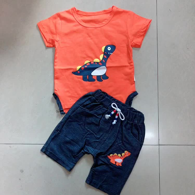 Summer dinosaur short sleeve cotton clothing two pieces baby boy summer clothes boys clothing sets