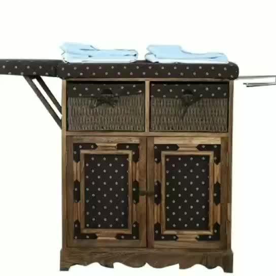 Kundenspezifisches weißes festes Holz-faltendes hölzernes Bügelbrett-Kabinett mit Weidenkorb