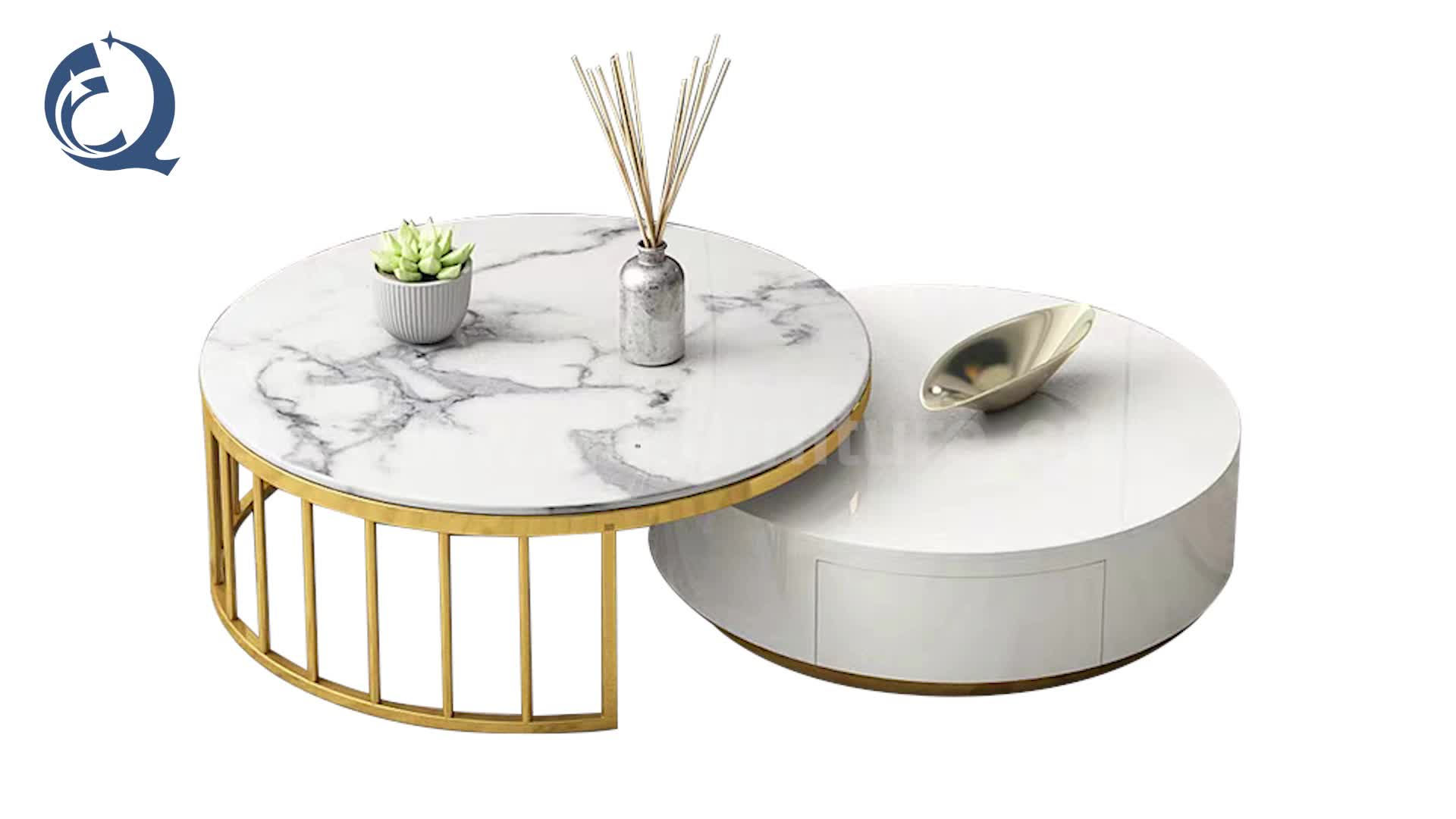 2 pcs for one set marble top coffee table