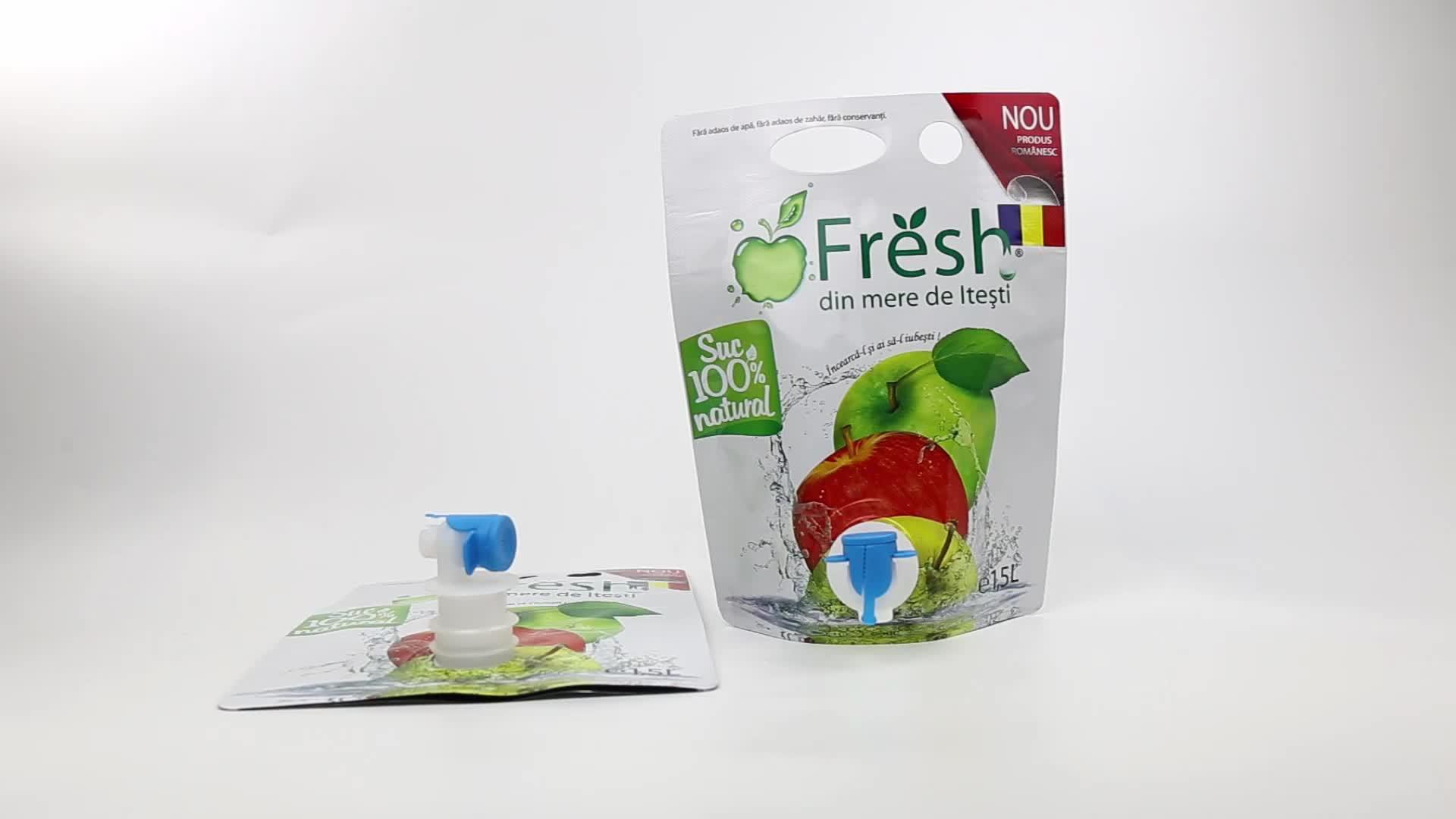 Özel baskılı yumuşak içecekler emzik çantası plastik torba şarap çantası emzik ile emballage dökün jus de meyve