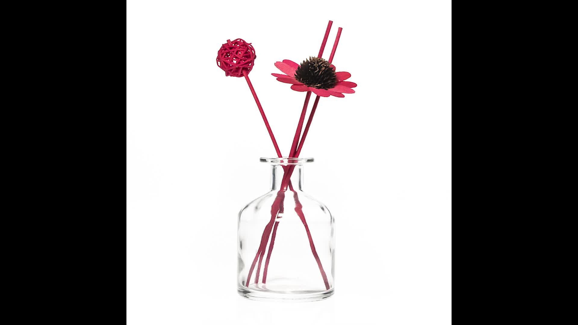 Zimmer Dekorative 50 ml Runde Leer Klare Glas Reed Diffusor Blume Vase Flasche