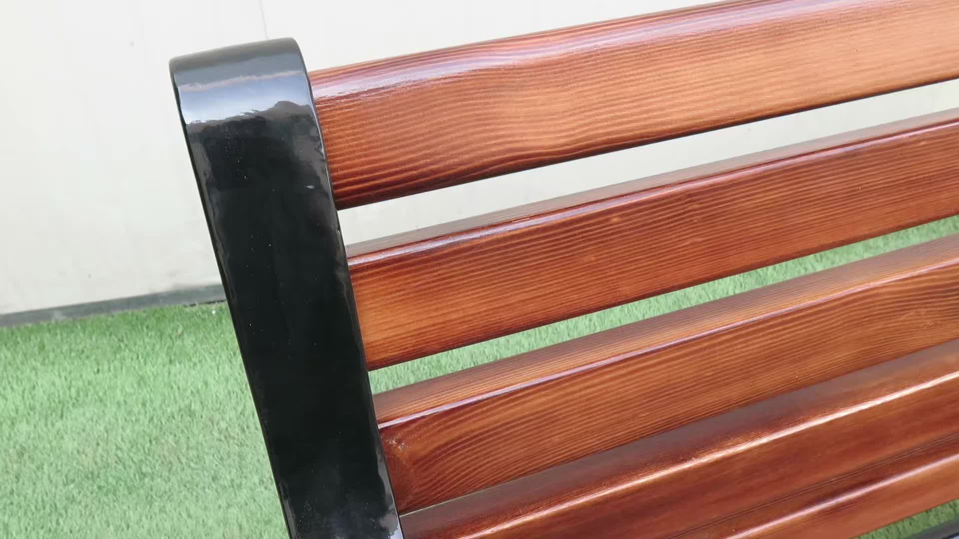Factory Outlet Wooden Park Bench Outdoor Garden Seating Cast Iron Leg Metal Chair with Backrest