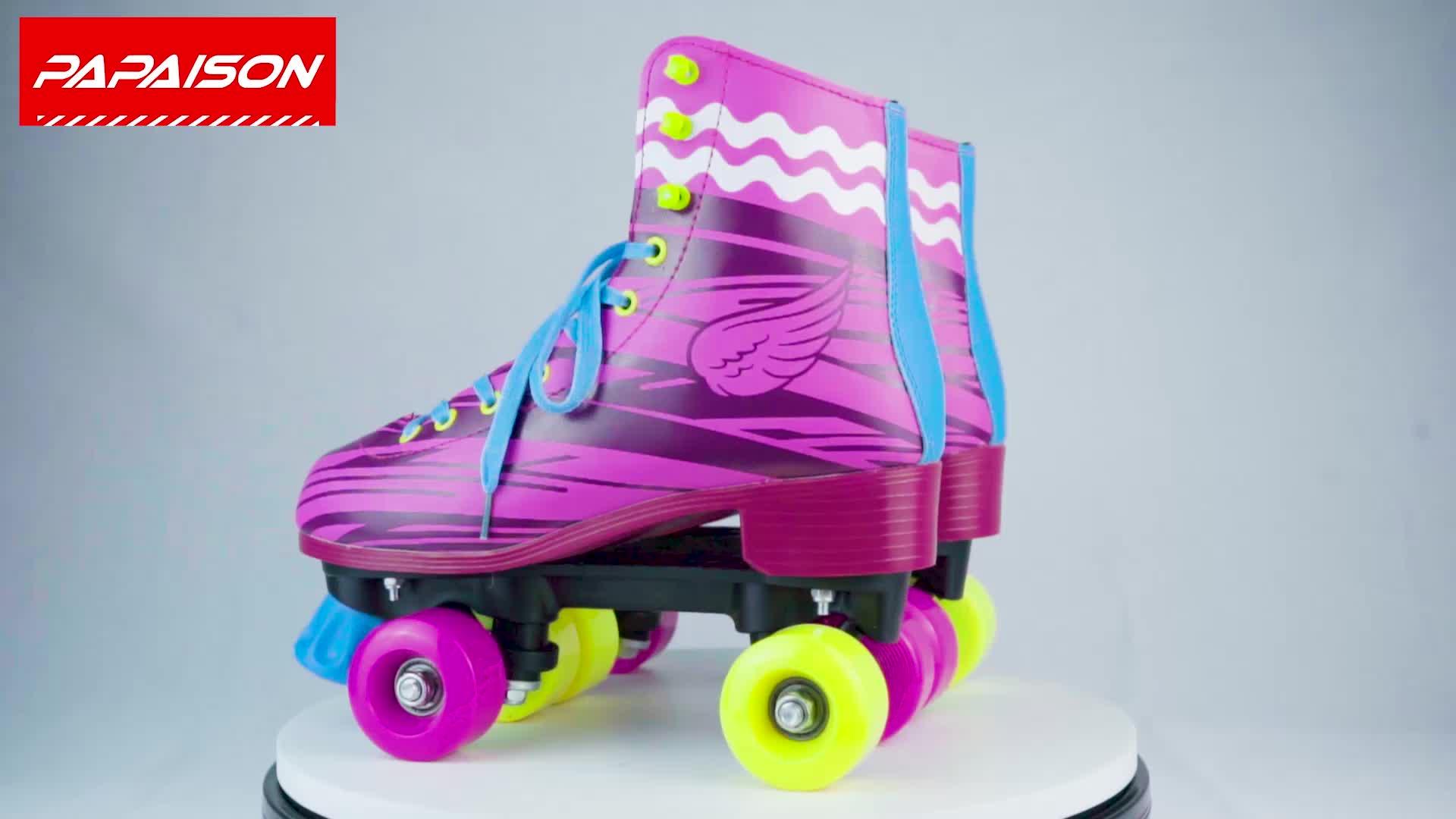 Factory promotion PVC leather 4 wheels soy luna patins quad roller skates