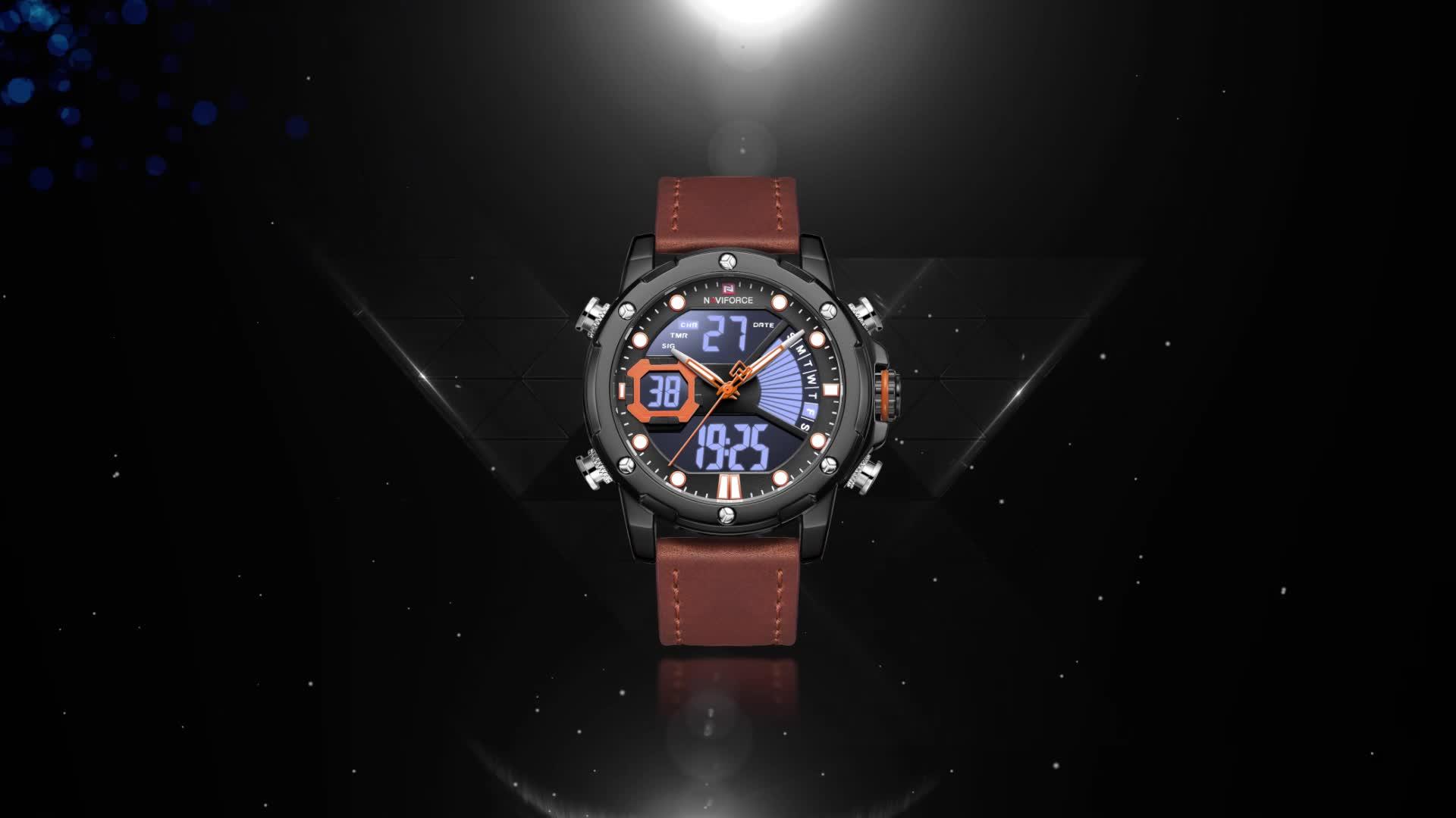 럭셔리 브랜드 NAVIFORCE 9172 Mens 시계 가죽 쿼츠 손목 시계 LCD 디지털 스포츠 방수 네이비