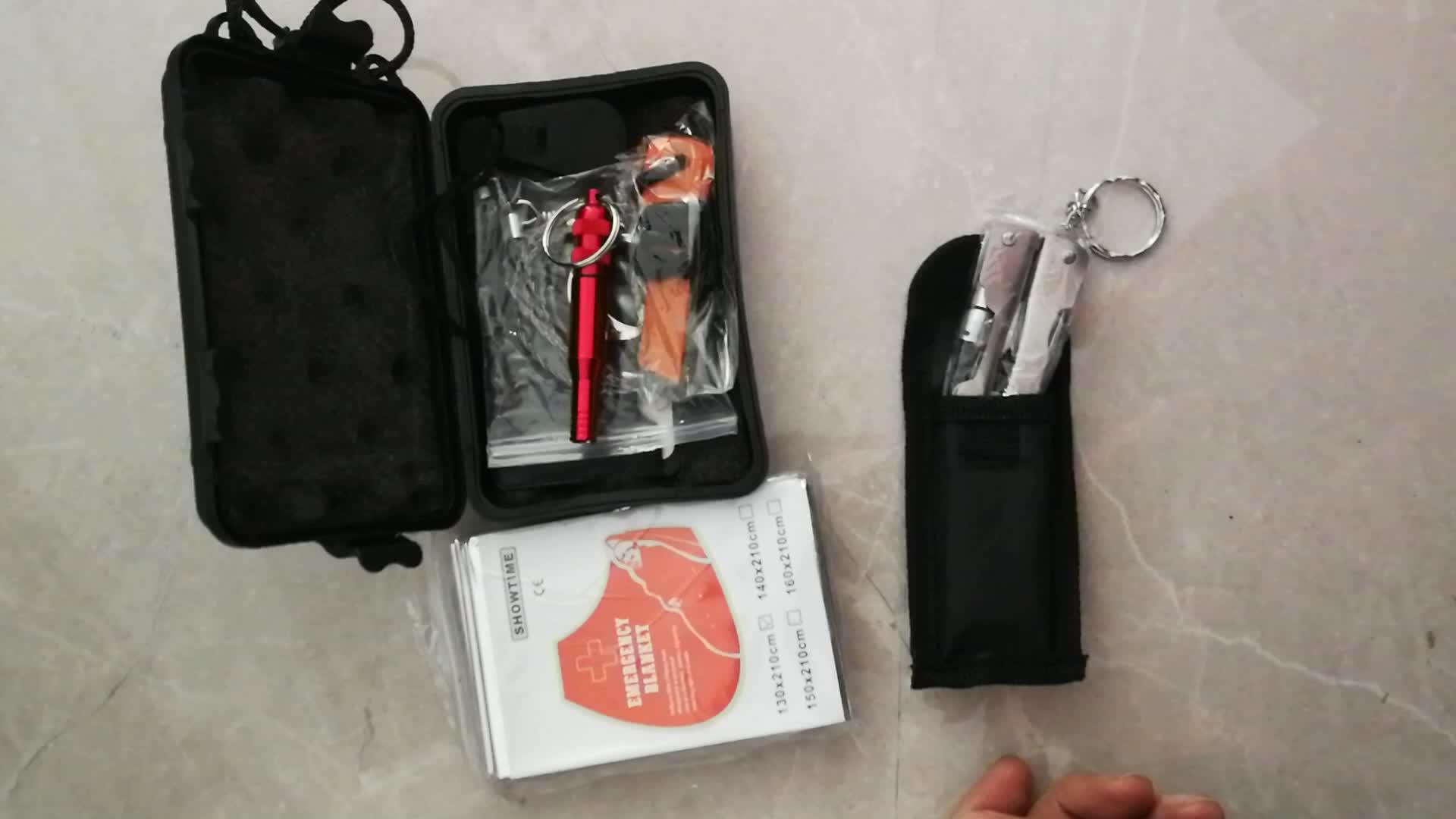 새로운 야외 생존 기어 도구 캠핑 생존 키트 하이킹 비상 담요