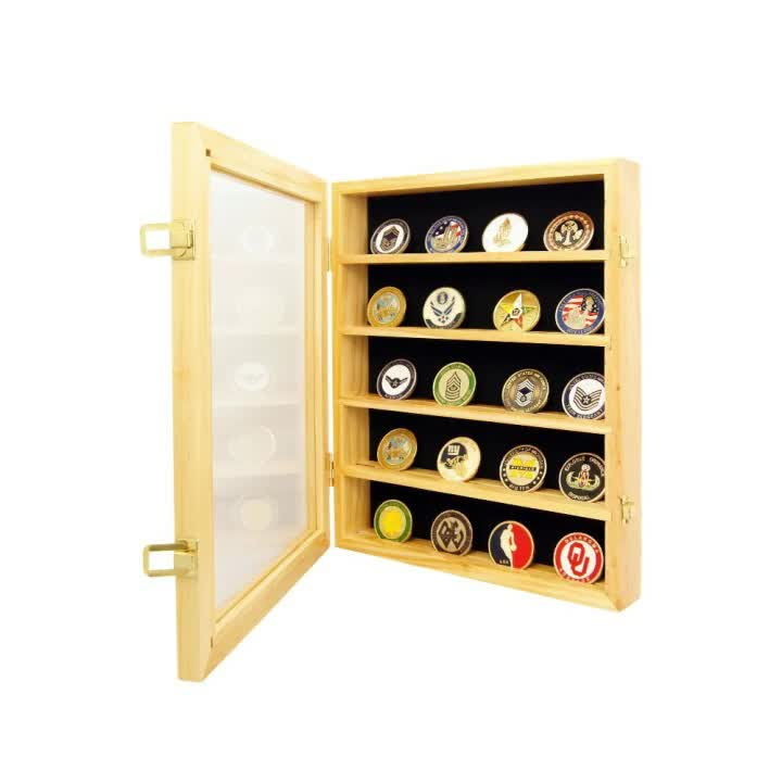 Natural Wood Coin Display Box Lockable 30 Military Challenge Coin Poker Chip Breastpin Display Case Cabinet with Glass window