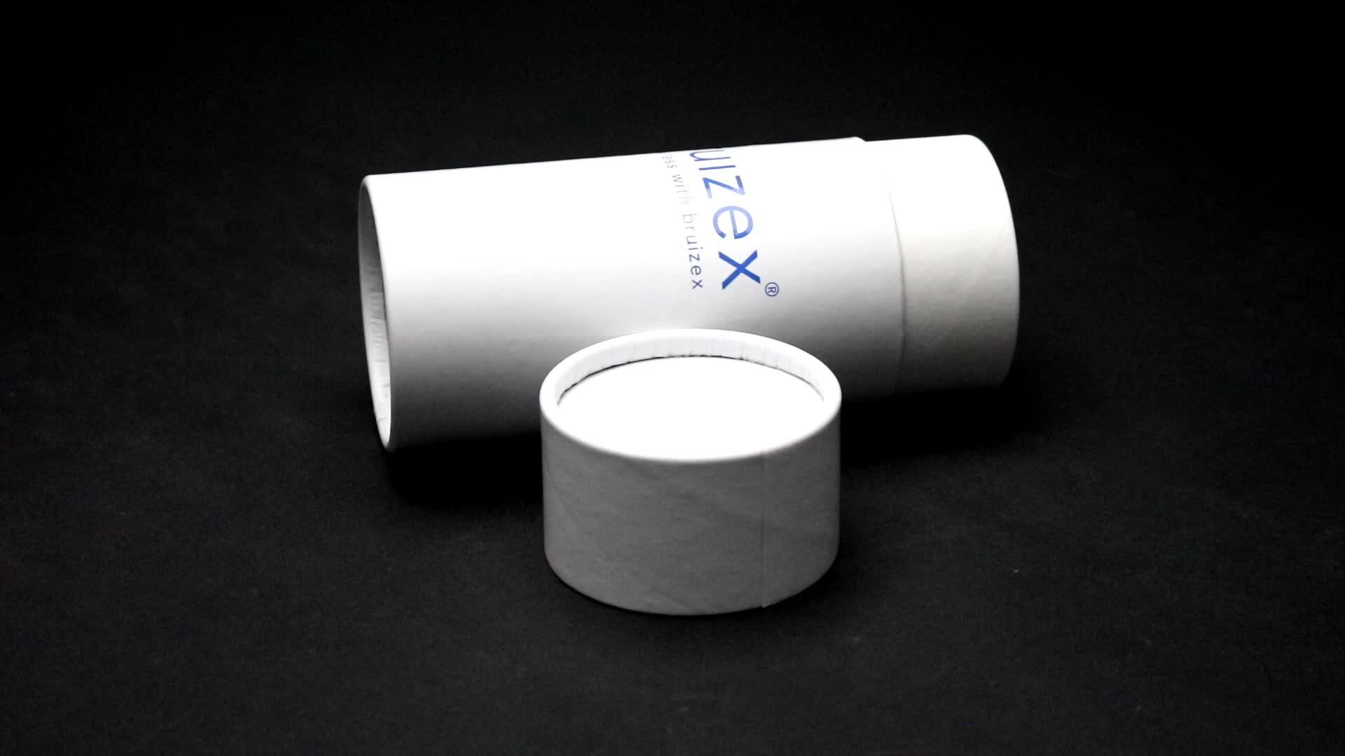 Glad oppervlak wit papier ronde buis doos met bedrijfslogo