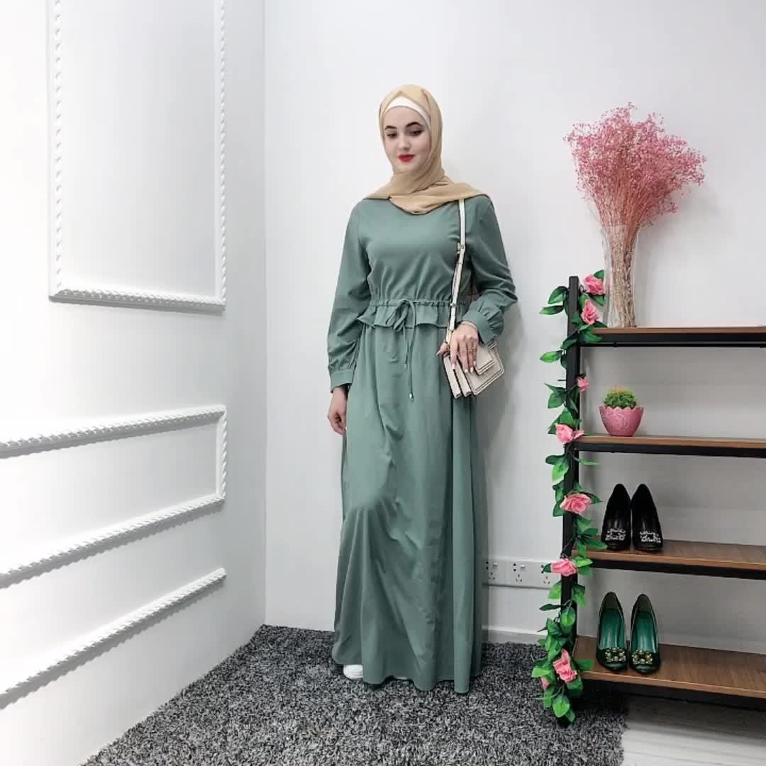 2019 new design  green muslim women long sleeve kaftan maxi dress fixed belt