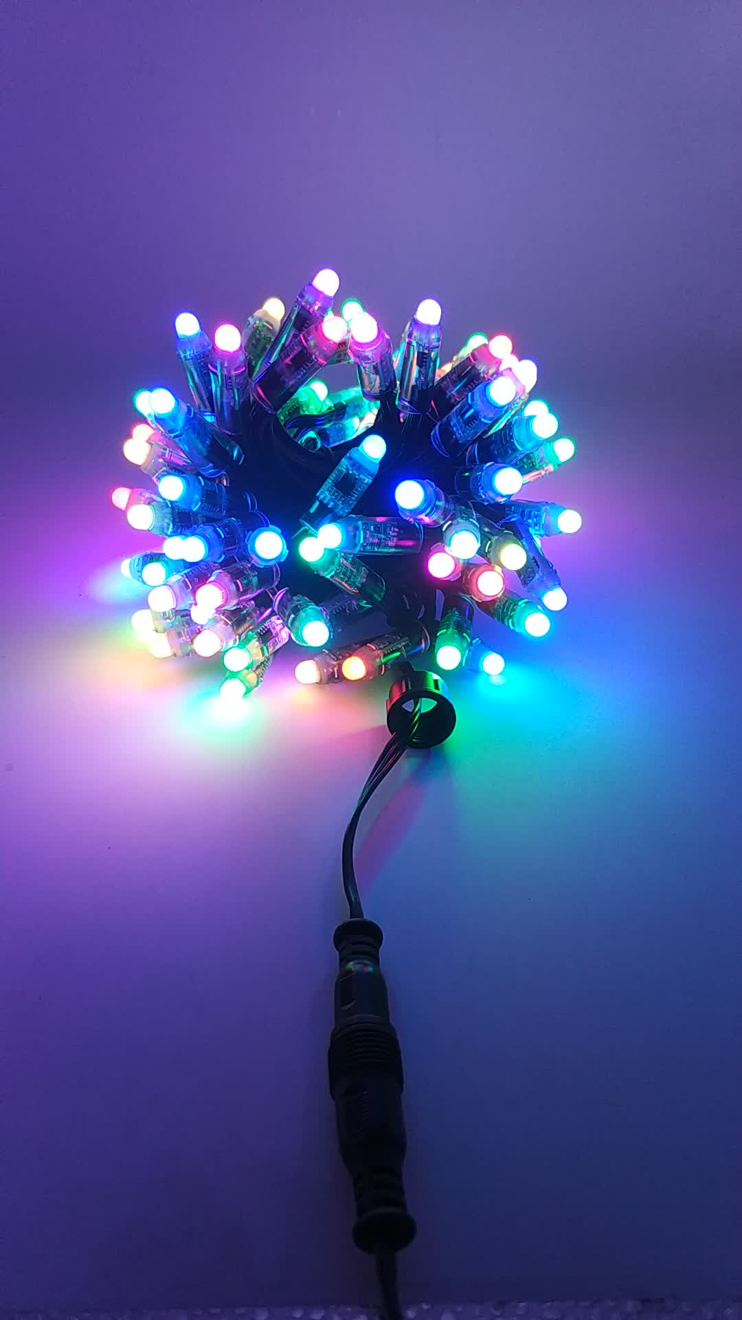 RGB full color;all BLACK 18AWG)wire,IP68,Smart 12v 100 pcs Bullet Nodes Black Wire with Ray Wu Style Connector