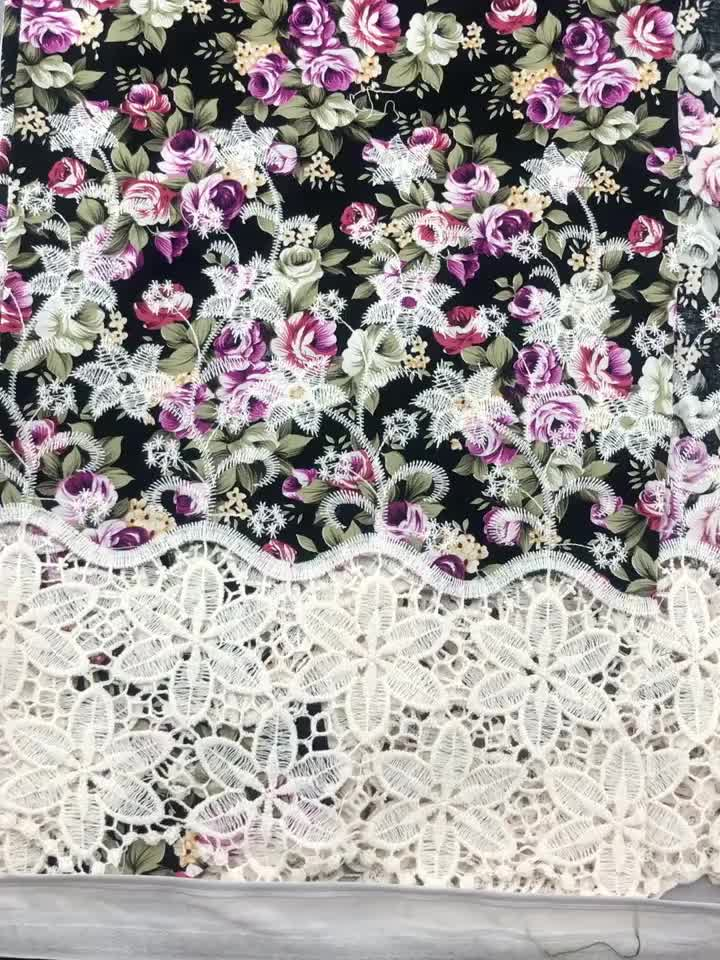 flat embroidery with printing cotton fabric for summer season